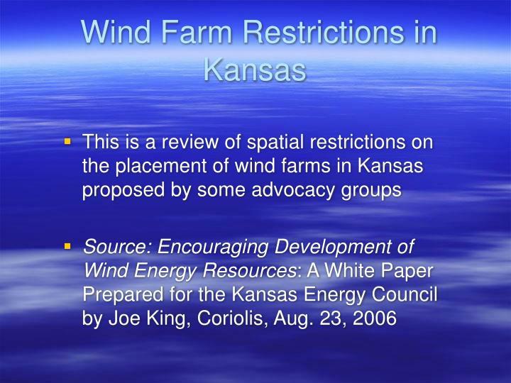 Wind Farm Restrictions in Kansas