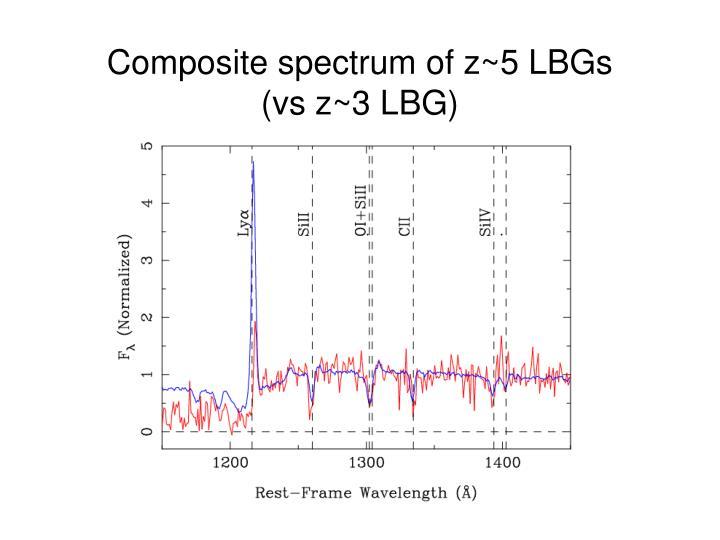 Composite spectrum of z~5 LBGs