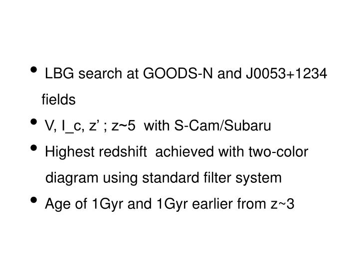 LBG search at GOODS-N and J0053+1234