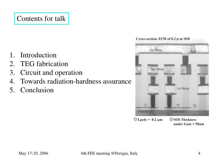 Contents for talk