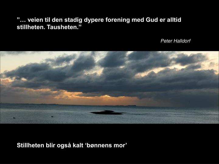 """""""… veien til den stadig dypere forening med Gud er alltid stillheten. Tausheten."""""""