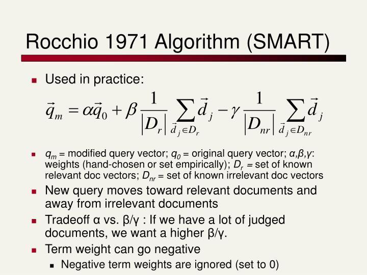 Rocchio 1971 Algorithm (SMART)