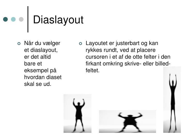 Når du vælger et diaslayout, er det altid bare et eksempel på hvordan diaset skal se ud.
