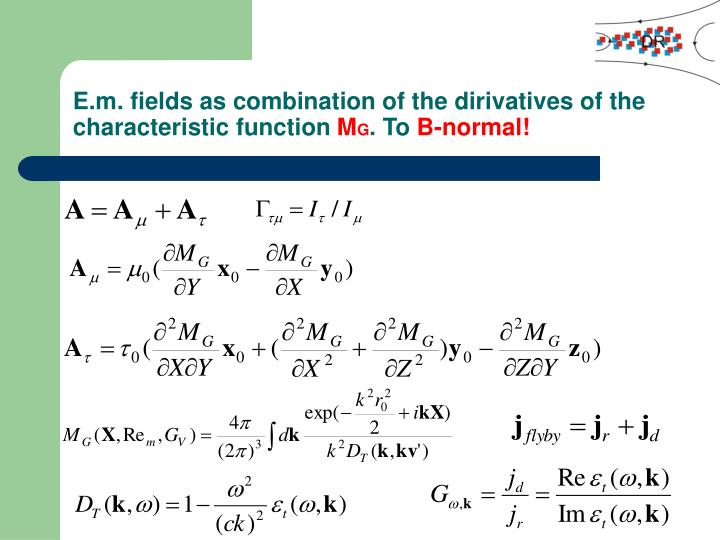 E.m. fields as combination of the dirivatives of the characteristic function