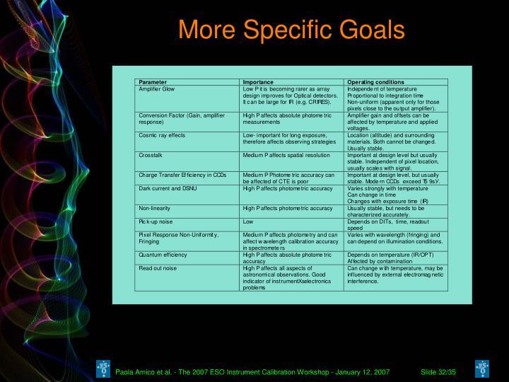 More Specific Goals
