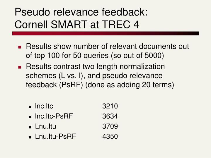 Pseudo relevance feedback: