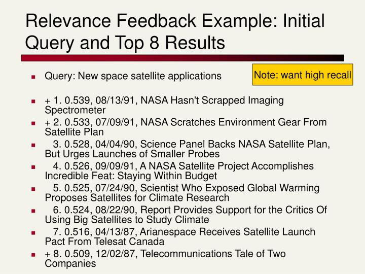 Relevance Feedback Example: Initial Query and Top 8 Results