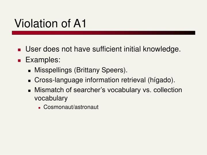 Violation of A1