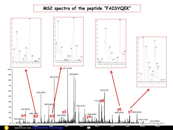 "MS2 spectra of the peptide ""FAISYQEK"""