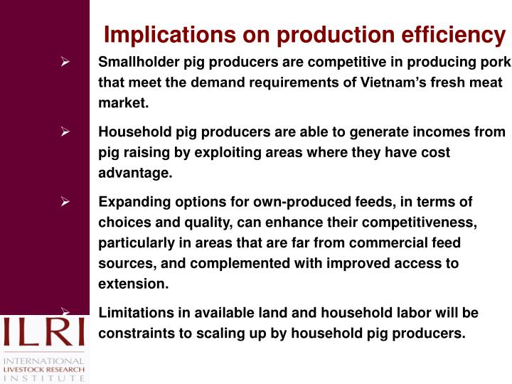Implications on production efficiency
