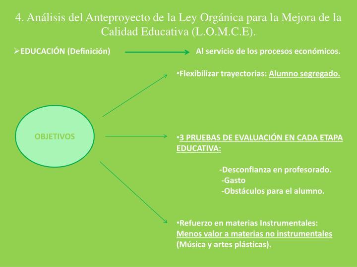 4. Análisis del Anteproyecto de la Ley Orgánica para la Mejora de la Calidad Educativa (L.O.M.C.E).