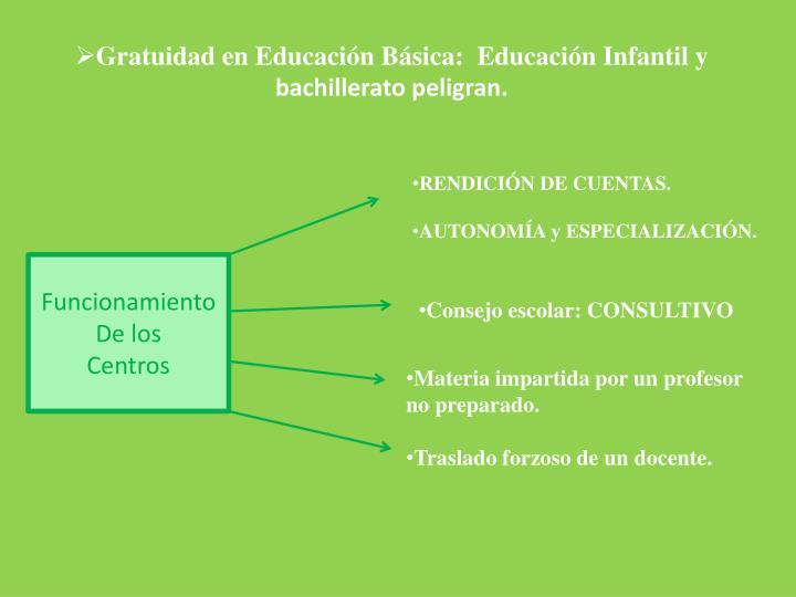 Gratuidad en Educación Básica:  Educación Infantil y