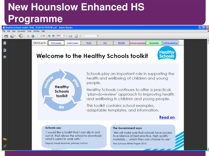 New Hounslow Enhanced HS Programme