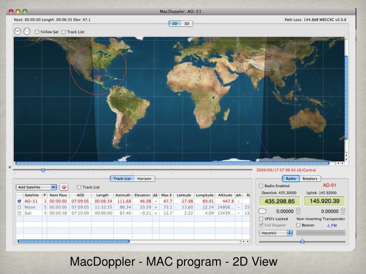 MacDoppler - MAC program - 2D View