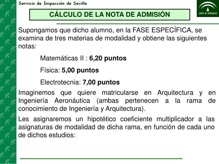 CÁLCULO DE LA NOTA DE ADMISIÓN