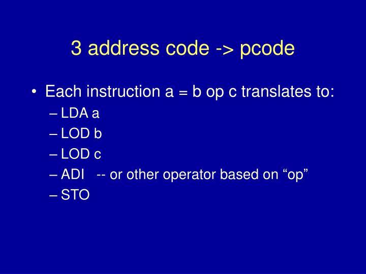 3 address code -> pcode