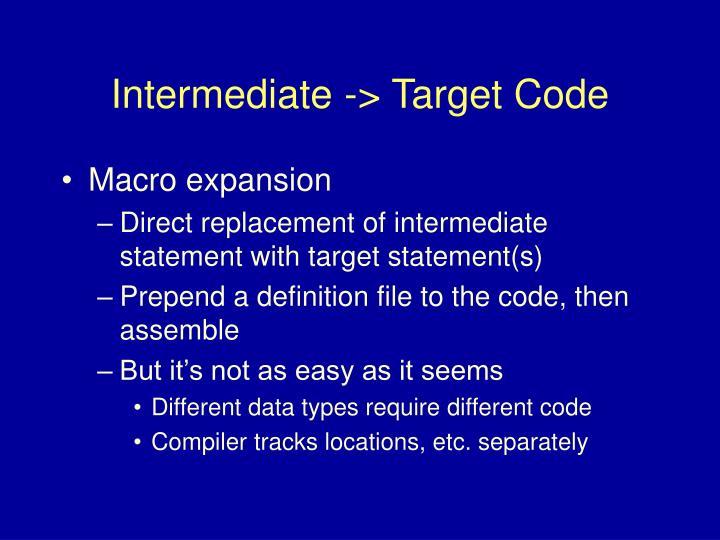 Intermediate -> Target Code