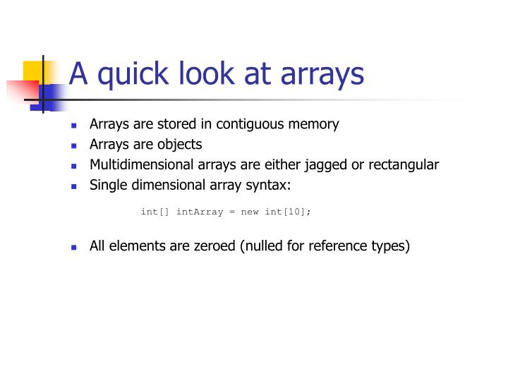 A quick look at arrays