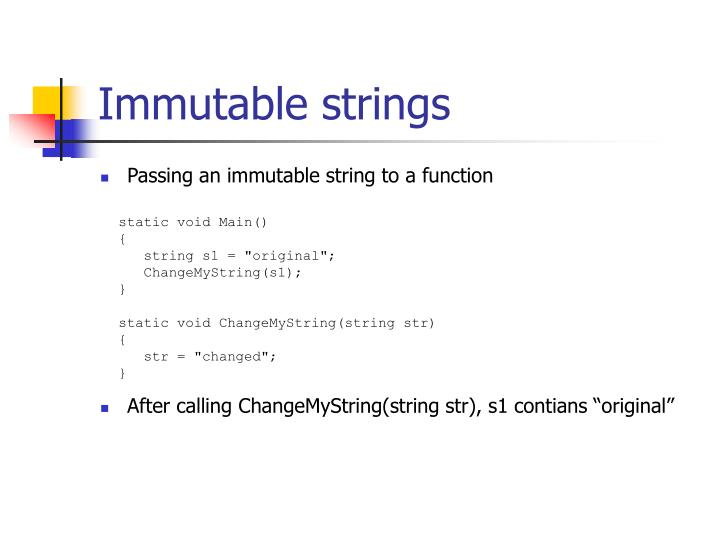 Immutable strings