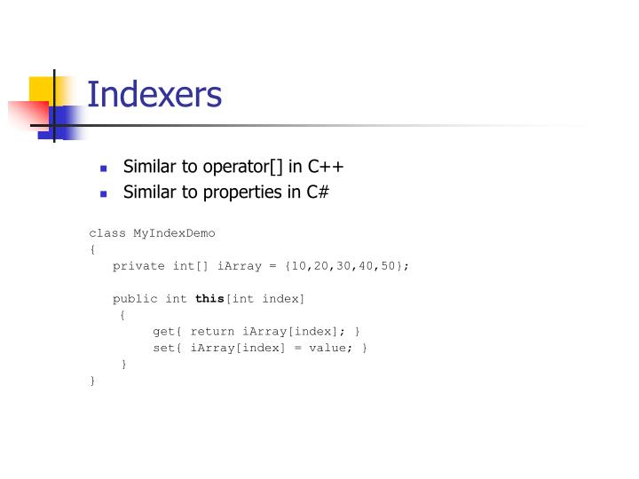 Indexers