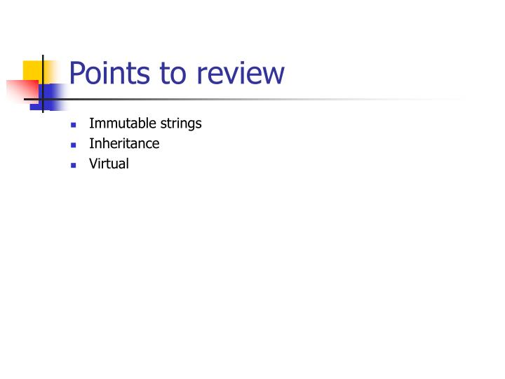 Points to review