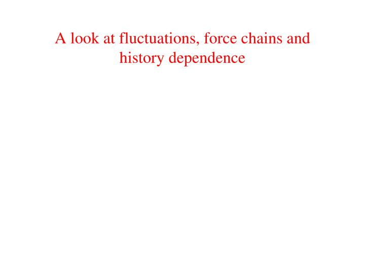 A look at fluctuations, force chains and history dependence