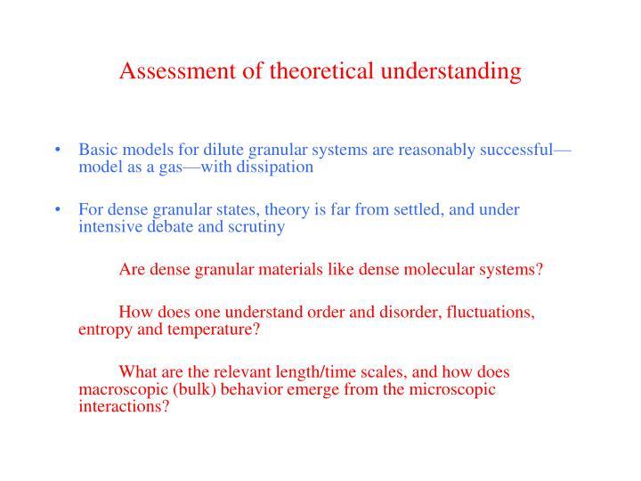 Assessment of theoretical understanding