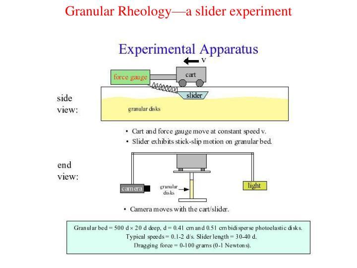 Granular Rheology—a slider experiment