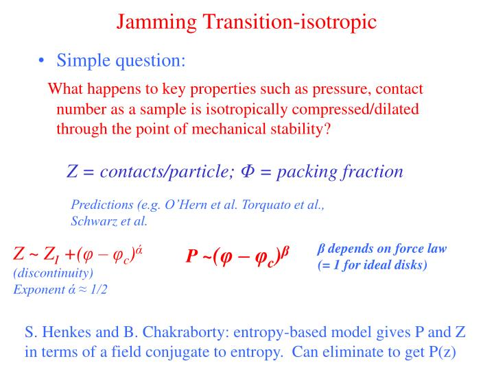 Jamming Transition-isotropic