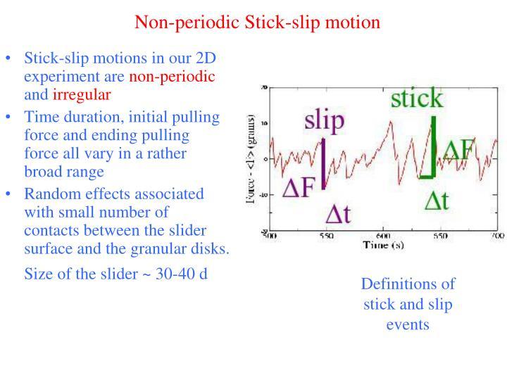 Non-periodic Stick-slip motion