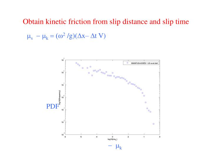 Obtain kinetic friction from slip distance and slip time