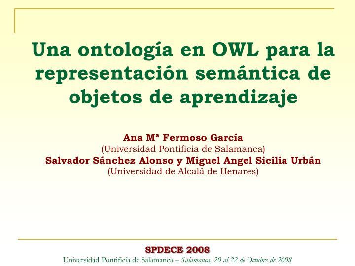 Una ontología en OWL para la representación semántica de objetos de aprendizaje