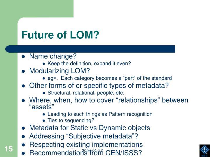 Future of LOM?