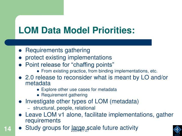 LOM Data Model Priorities:
