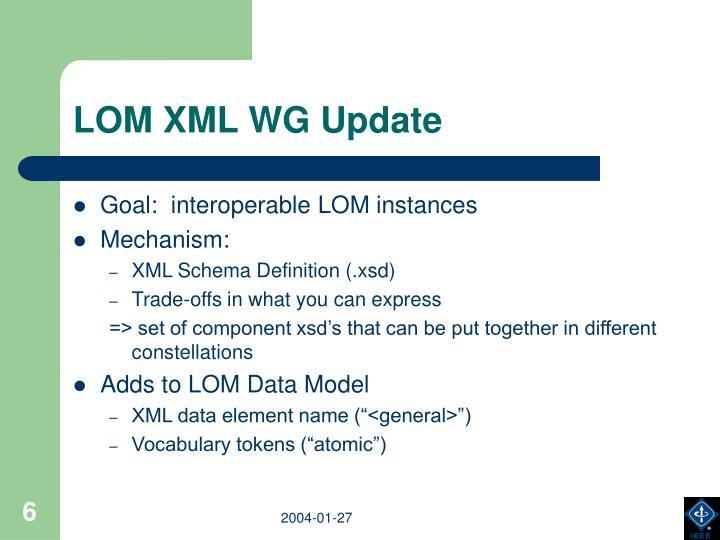 LOM XML WG Update
