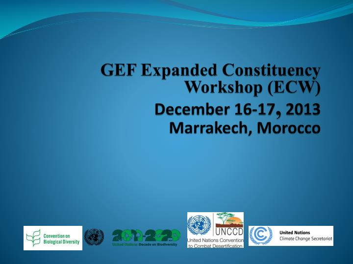 gef expanded constituency workshop ecw december 16 17 2013 marrakech morocco n.