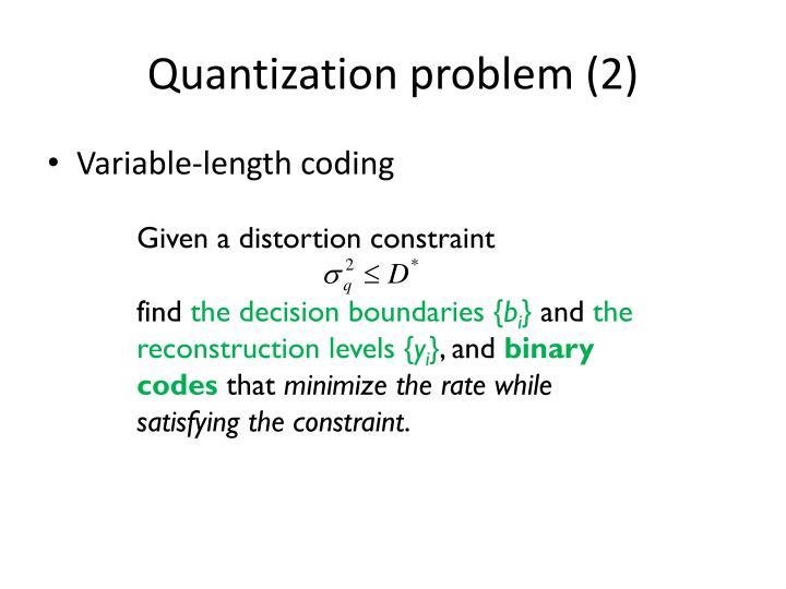 Quantization problem (2)