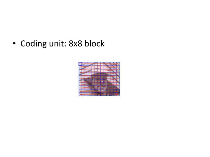 Coding unit: 8x8 block
