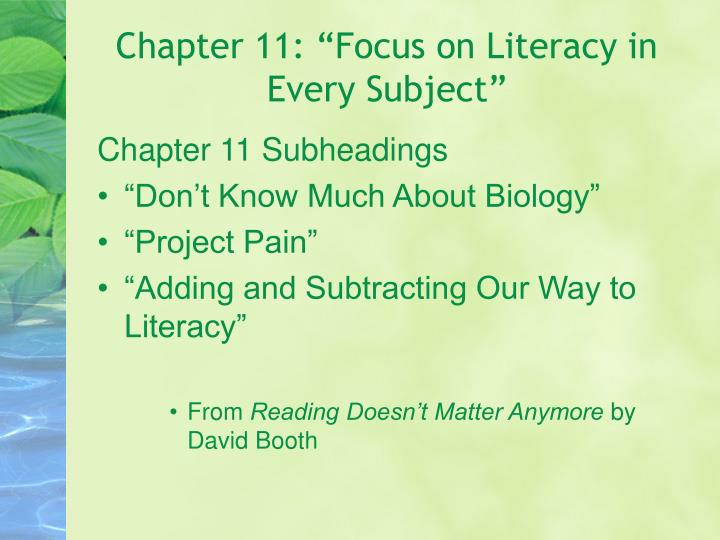 """Chapter 11: """"Focus on Literacy in Every Subject"""""""