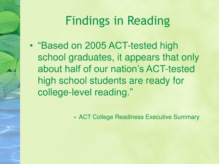 Findings in Reading