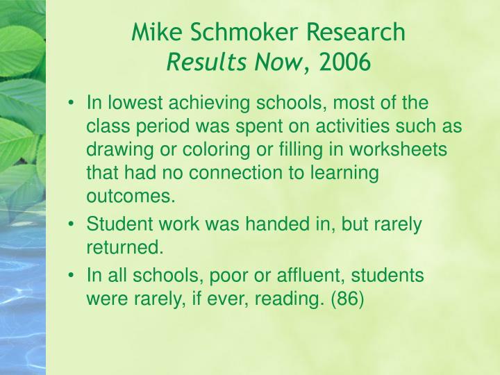Mike Schmoker Research