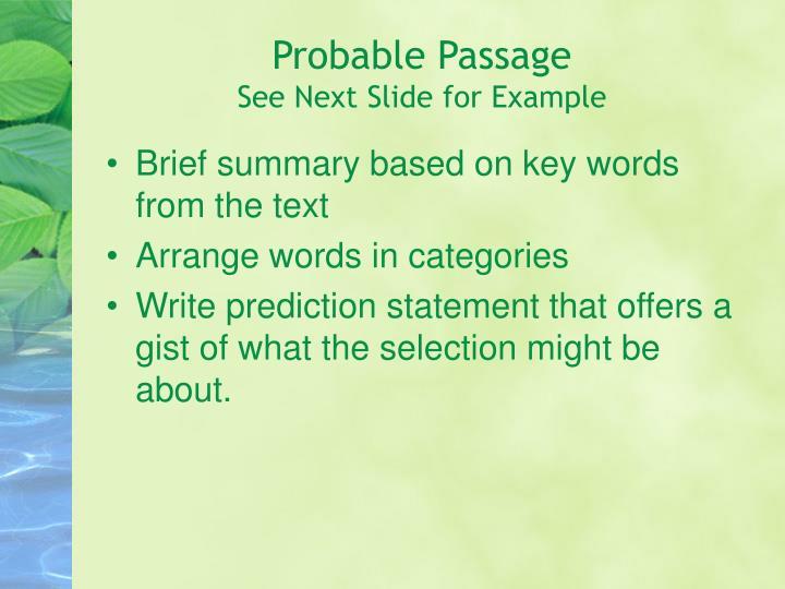 Probable Passage