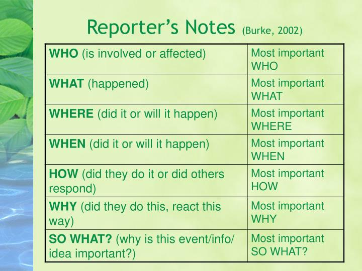 Reporter's Notes