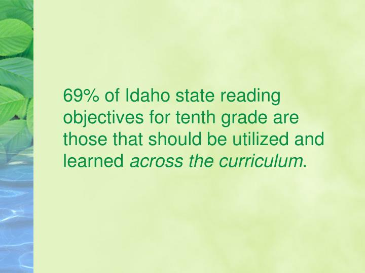 69% of Idaho state reading objectives for tenth grade are those that should be utilized and learned