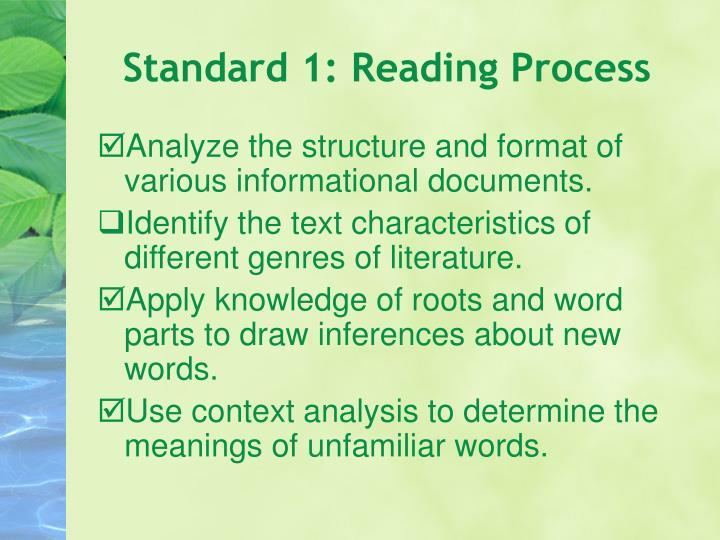 Standard 1: Reading Process