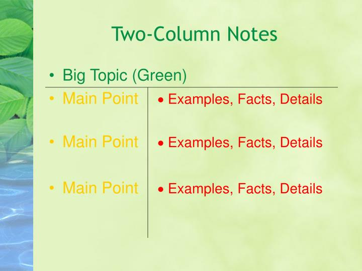 Two-Column Notes