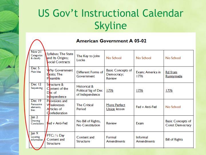 US Gov't Instructional Calendar