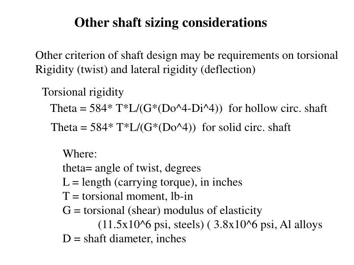 Other shaft sizing considerations