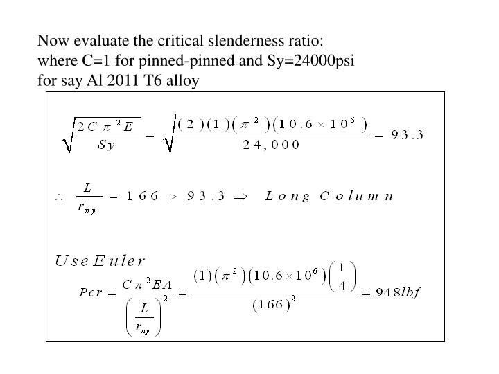 Now evaluate the critical slenderness ratio: