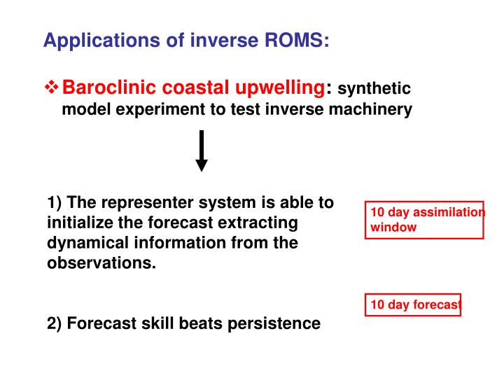 Applications of inverse ROMS: